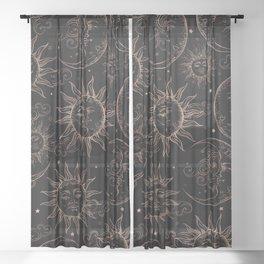 Black Rose Gold Celestial Vintage Sun Moon Sheer Curtain