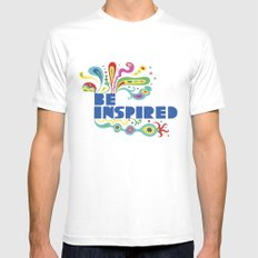 Be Inspired MEDIUM White Mens Fitted Tee