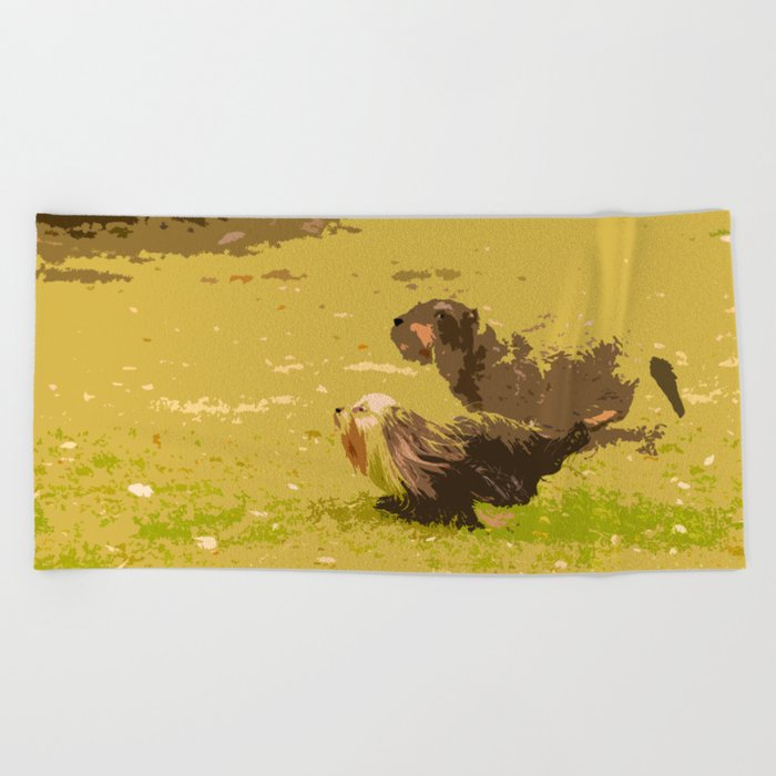 Dog's Running Race Beach Towel