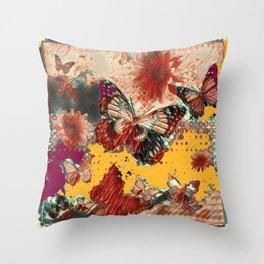 Artistic Monarch Butterflies Design Rustic Pattern Throw Pillow