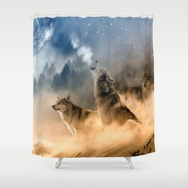 Howling Wolves Moonlight Wolf Wild Animals Moon Shower Curtain