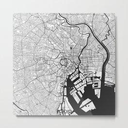 Tokyo Map Gray Metal Print