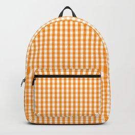 Pumpkin Orange and White Gingham Check Plaid Backpack