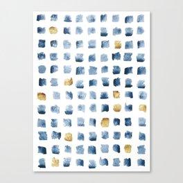 Watercolor Indigo Gold Geometrical Squares Pattern Canvas Print
