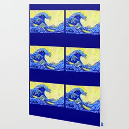 the great wave blue back Wallpaper