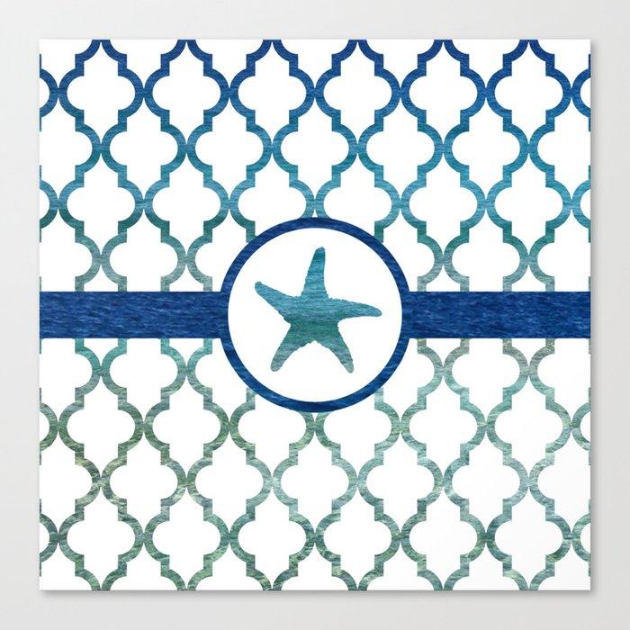 Starfish: Tropical Water Moroccan Pattern Leinwanddruck
