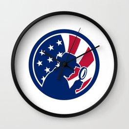 American Private Investigator USA Flag Icon Wall Clock