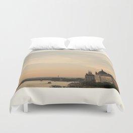 Sun sets over Budapest Duvet Cover