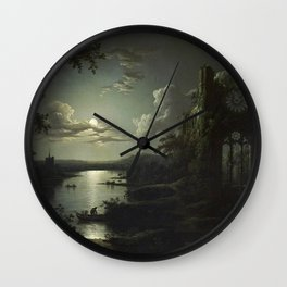The Beautiful Ruins, Boats on a Moonlit Lake with Gothic Church landscape painting by Sebastian Pether Wall Clock