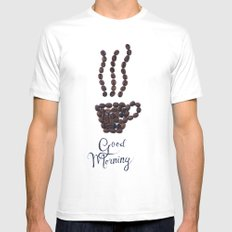 Coffee beans MEDIUM Mens Fitted Tee White
