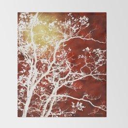 Burgundy Tree Art Throw Blanket