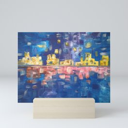 City lights in blue night | Colorful acrylic painting Mini Art Print