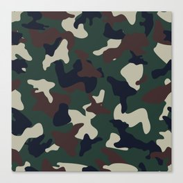 Green Brown woodland camo camouflage pattern Canvas Print