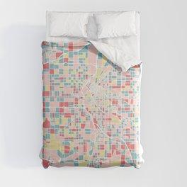 Denver Colorado Colorful Mosaic Map Comforters