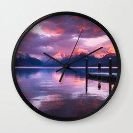 Boat dock at Lake McDonald Wall Clock