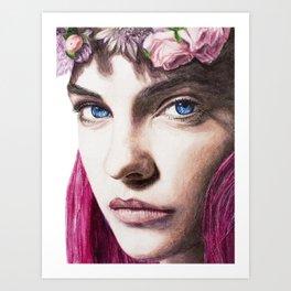 Barbara Palvin Watercolor with Pink Hair Art Print