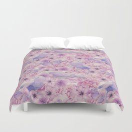 Watercolor Bird And Flower Pattern Duvet Cover