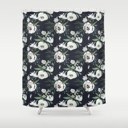 Blush pink white green black watercolor modern floral Shower Curtain