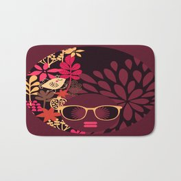 Afro Diva : Sophisticated Lady Deep Pink & Burgundy Bath Mat