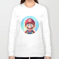mario kart Long Sleeve T-shirts featuring Mario Portrait by Laurence Andrew Page Illustrator