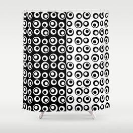 Mod Love Black/White Dots Circles Shower Curtain