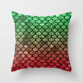 Green/Red Dragon Scales Throw Pillow