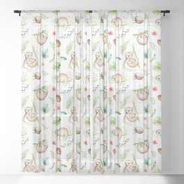 Tropical Sloths Pattern Sheer Curtain