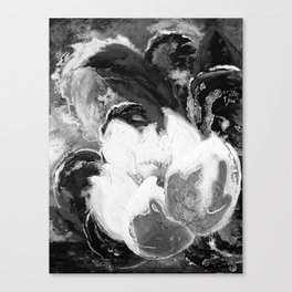 Purple Peonies in Gold with Red - Black and White Canvas Print