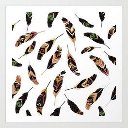 Feathers seamless pattern, vector illustration Art Print