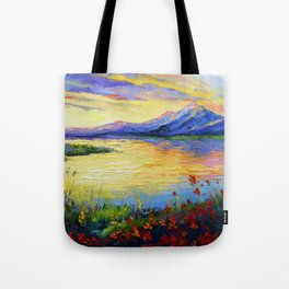 Flowers on the shore of the lake Tote Bag