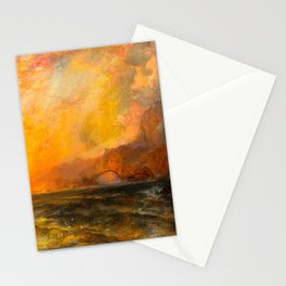 Majestic Golden-Orange Sunset Over the Troubled Atlantic Ocean landscape by Thomas Moran Stationery Cards