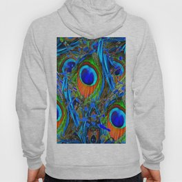 FEATHERY BLUE PEACOCK ABSTRACTED  FEATHERS ART PILLOWS Hoody