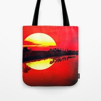 duvet cover Tote Bags featuring Sunset duvet cover by customgift