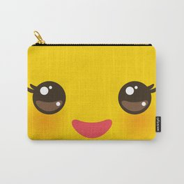 Kawaii Cartoon Face on yellow background Carry-All Pouch