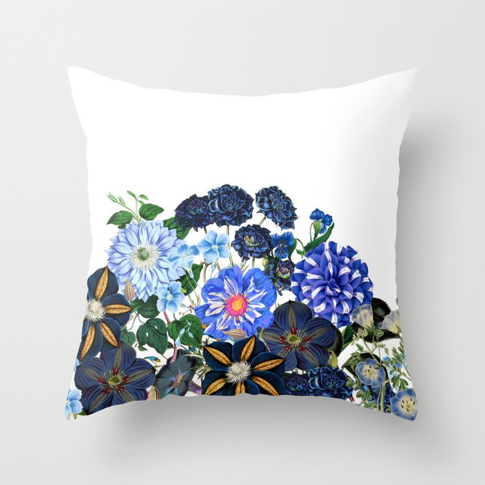 Vintage & Shabby Chic - Blue Flower Summer Meadow Throw Pillow