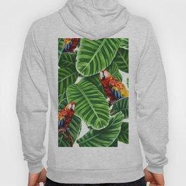 tropical leaves macaw pattern Hoody
