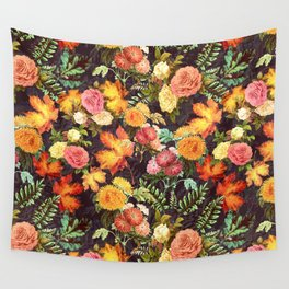 Autumn Flowers and Leaves Wall Tapestry