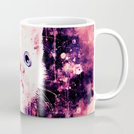 cute white stare gaze kitty splatter watercolor Coffee Mug