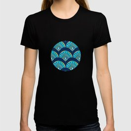 Art Deco Fan Blue T-shirt