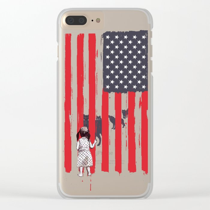 Little girl and wolves Clear iPhone Case