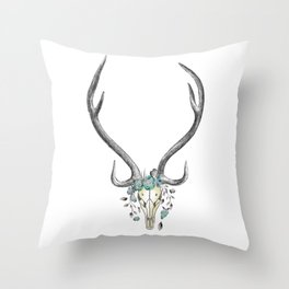 Floral Stag Skull Throw Pillow
