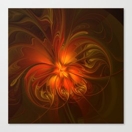 Burning, Abstract Fractal Art With Warmth Canvas Print