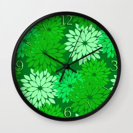 Modern Floral Kimono Print, Emerald and Jade Green Wall Clock