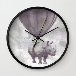 Rhino on Clouds Wall Clock