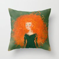 pixar Throw Pillows featuring Merida from Brave (Pixar - Disney) by Delucienne Maekerr