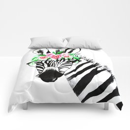 Zebra with glasses and flowers Comforters