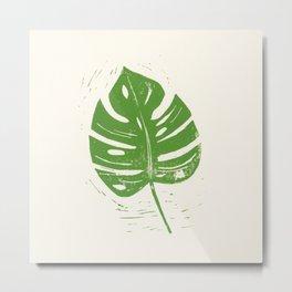 Linocut Leaf Metal Print