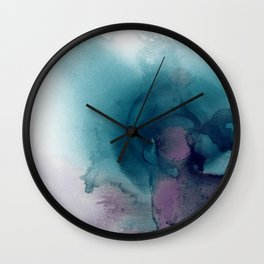 Teal Ultra Violet Vortex Wall Clock