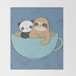 Kawaii Cute Panda and Sloth Throw Blanket
