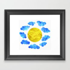 Cute blue cartoon clouds and sun. Framed Art Print